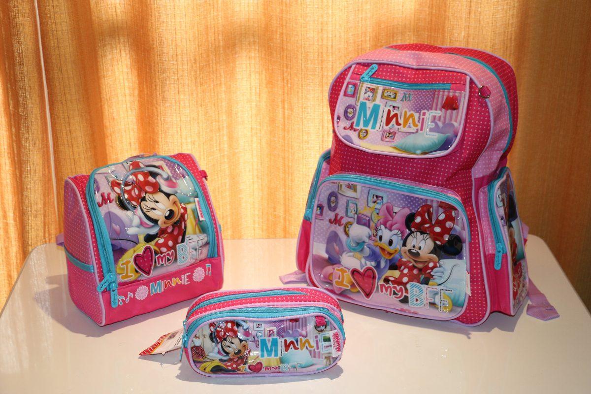 kit mochila infantil minnie rodinhas lancheira estojo
