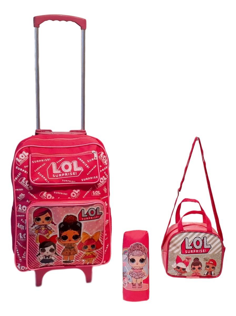 27a553fbba kit mochila infantil rodinha lancheira estojo lol surprise. Carregando zoom.