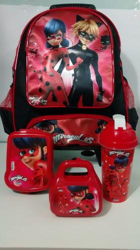 kit mochila infantil rodinhas miraculos ladybug super oferta