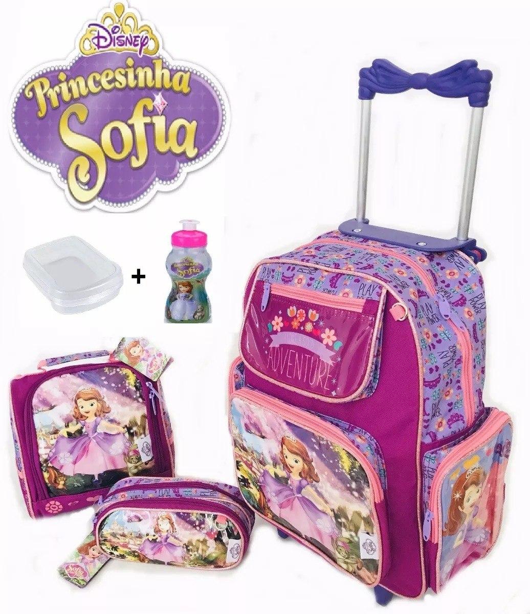 397413691 Kit Mochila Infl Rodinha Princesa Sofia + Lancheira + Estojo - R ...