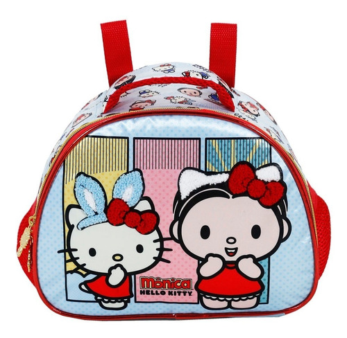 kit mochila + lancheira hello kitty e monica xeryus g- 7922