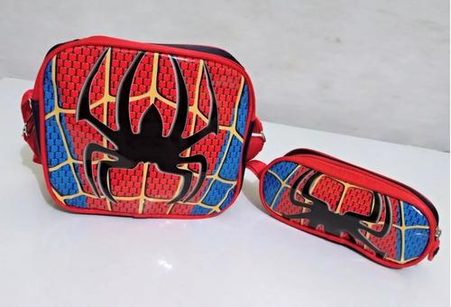 kit mochila + lancheira infantil homem aranha alto relevo 19