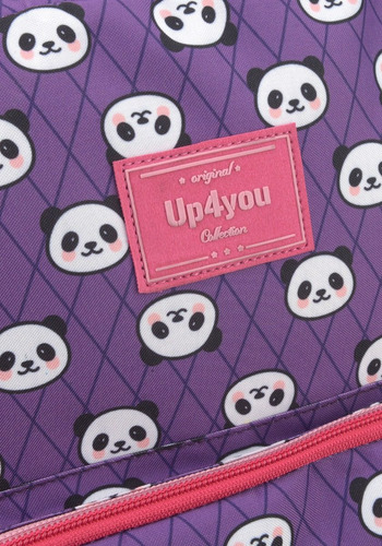 kit mochila +lancheira  panda up4you lilas-45579