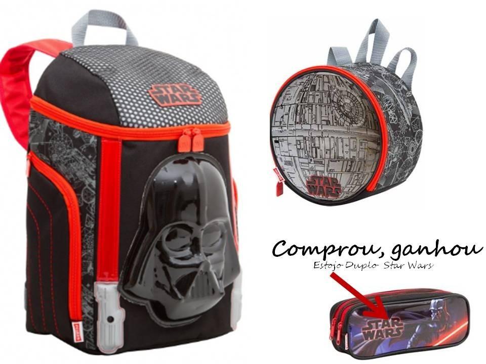 2919efec6 Kit Mochila + Lancheira Star Wars Sestini + Brinde - R$ 182,90 em ...