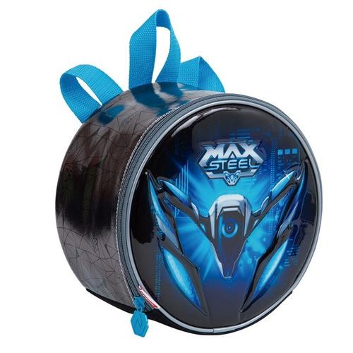 kit mochila max steel original tam g c/ rodinhas + brinde