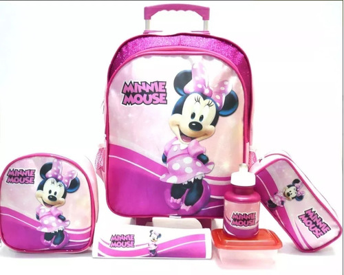 kit mochila minnie mouse brilhos tam g + lancheira f3 boleto
