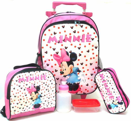 kit mochila minnie mouse rodinhas tam g + lancheira branca