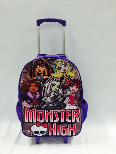 kit mochila monster high beauty freaky roda+lancheira+estojo