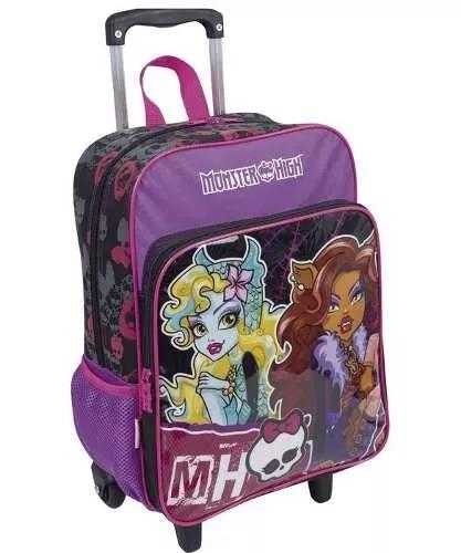 kit mochila monster high rodinhas g com bolso roxa sestini