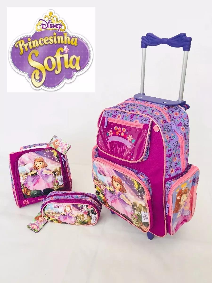 62b1d29048 kit mochila princesa sofia de rodinhas lancheira estojo. Carregando zoom.