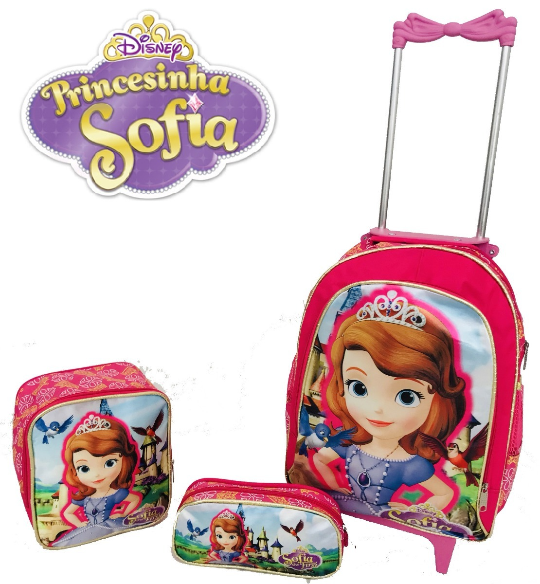 9a37038d7d kit mochila princesa sofia + lancheira + estojo grande 2018. Carregando zoom .