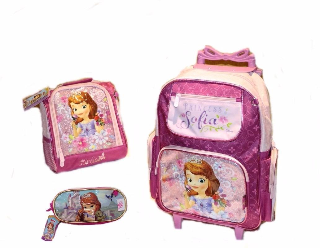 0f56e1d2ef kit mochila princesa sofia rodinhas + lancheira + estojo+ br. Carregando  zoom.