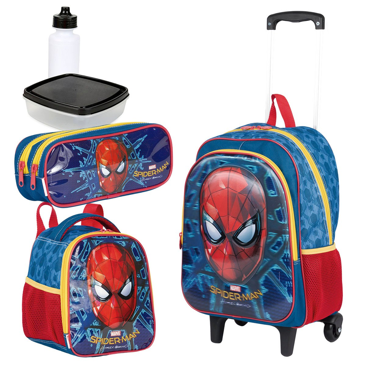 5b9527218b9926 kit mochila rodas spider man 18x lancheira estojo sestini. Carregando zoom.