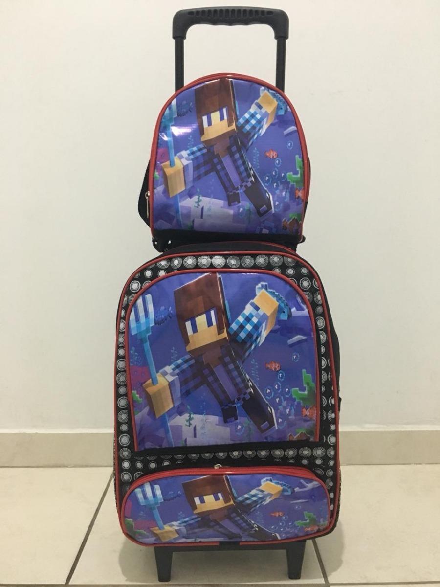 23861768f kit mochila rodinha escolar infantil minecraft promoção nata. Carregando  zoom.