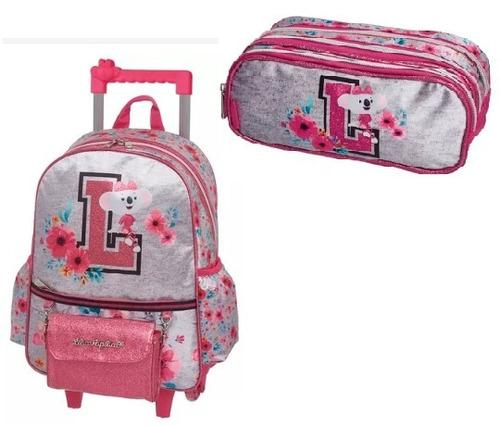kit mochila rodinha + estojo lilica ripilica college pacific