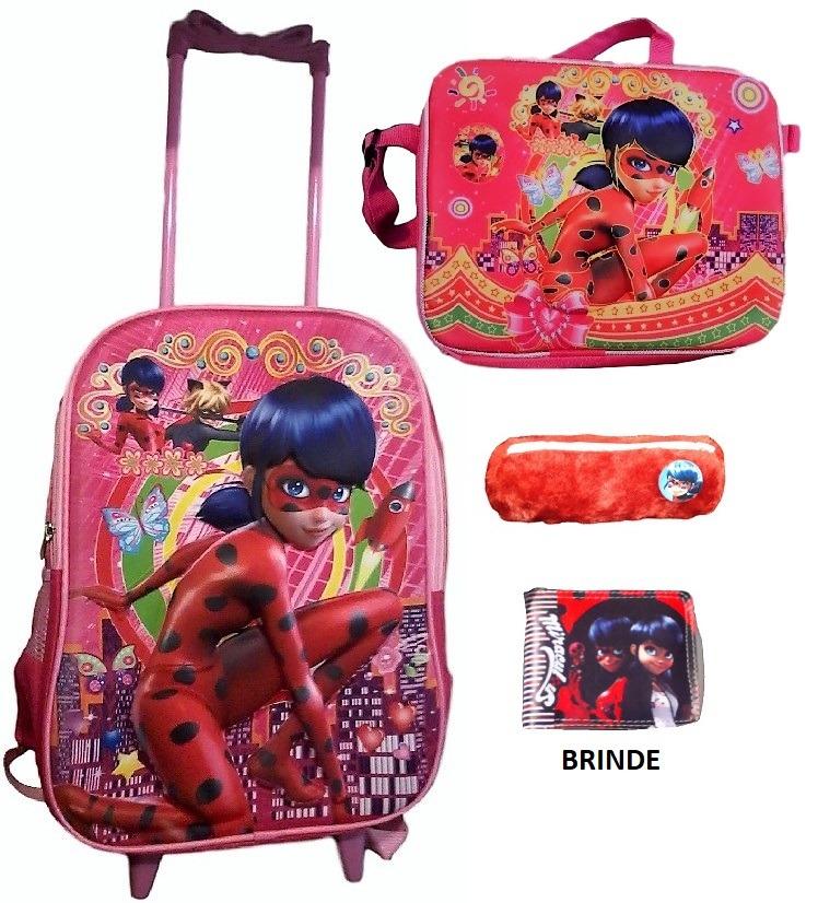 dff045013 Kit Mochila Rodinha G, Lancheira 3d Ladybug, Estojo E Brinde - R$ 119,90 em  Mercado Livre
