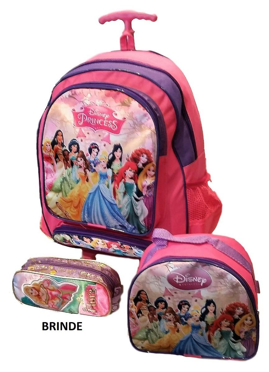 ec0917196 kit mochila rodinha g, lancheira e estojo brinde princesas. Carregando zoom.