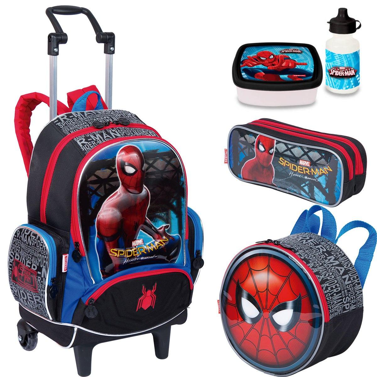 faef1b7e6d5609 kit mochila rodinha homem aranha lancheira estojo sestini. Carregando zoom.