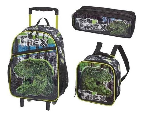 kit mochila rodinha lanch estojo t-rex dinossauro pacific
