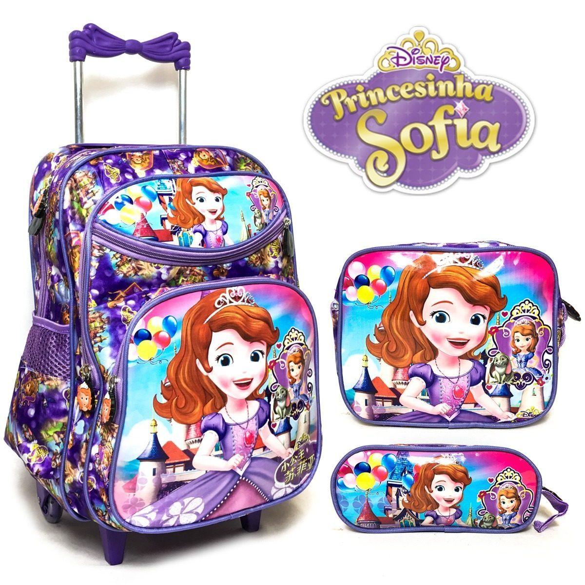 bb16a1a6b Kit Mochila Rodinha Lancheira Estojo Princesa Sofia 2 - R$ 168,90 em ...