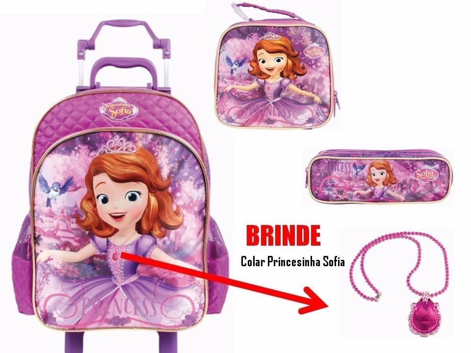57fb17e0f1 kit mochila rodinha princesa sofia top + lancheira + estojo. Carregando zoom .