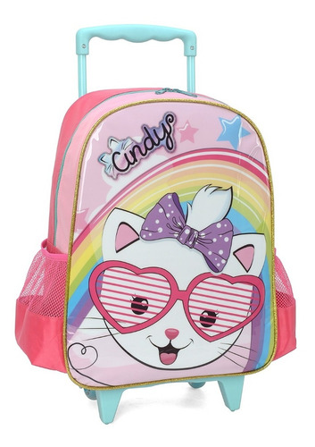 kit mochila rodinhas gata cindy lancheira estojo luxcel pink