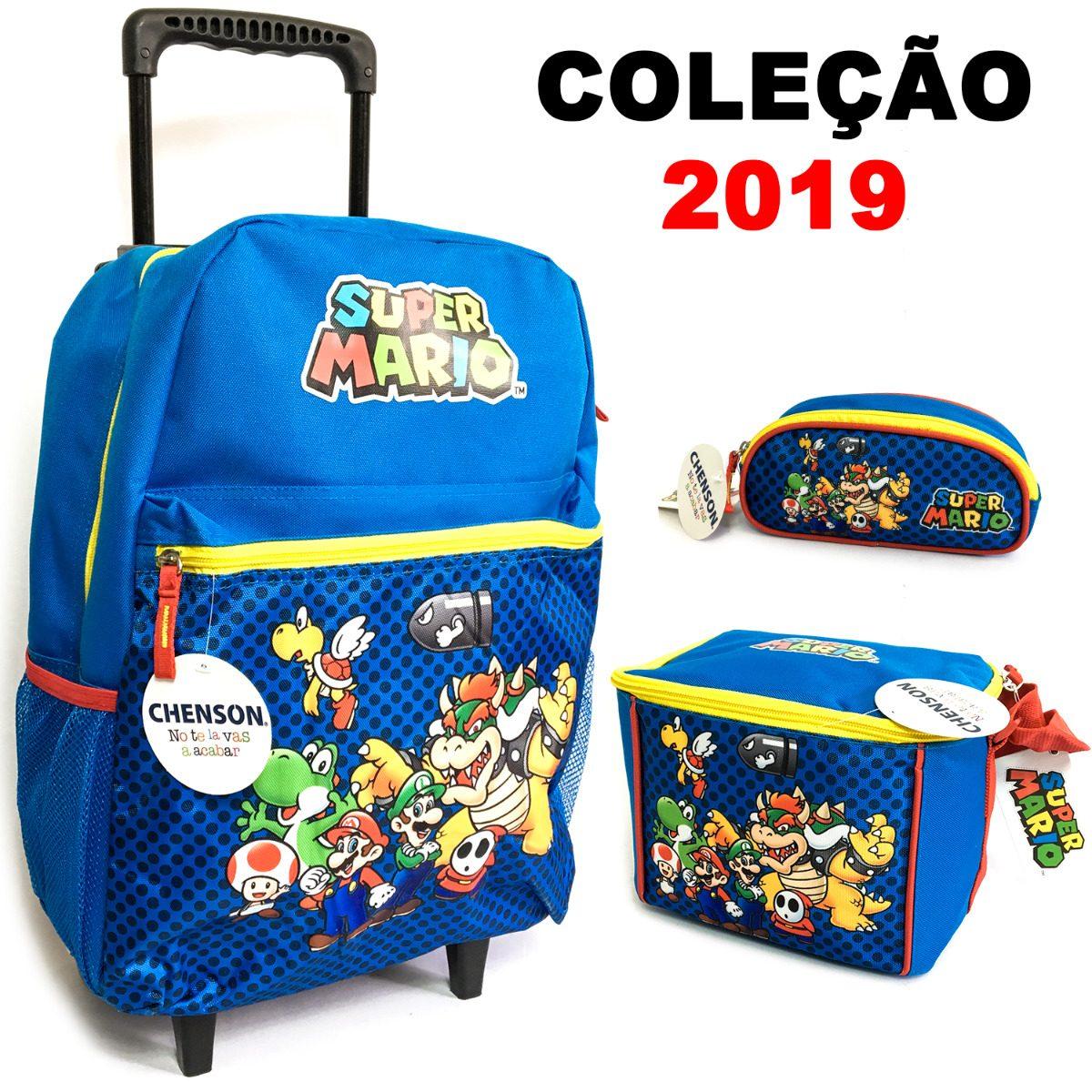 32d8e235e kit mochila rodinhas infantil mario bros + lancheira 2019. Carregando zoom.