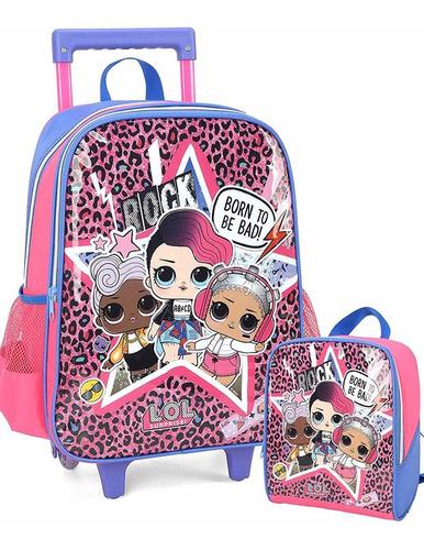 kit mochila rodinhas lancheira boneca lol surprise luxcel