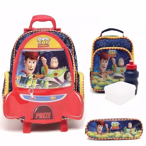 kit mochila toy story original com rodinhas tam g + brinde