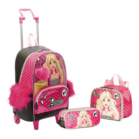 Kit Mochilete G Barbie 18z + Lancheira + Estojo Sestini