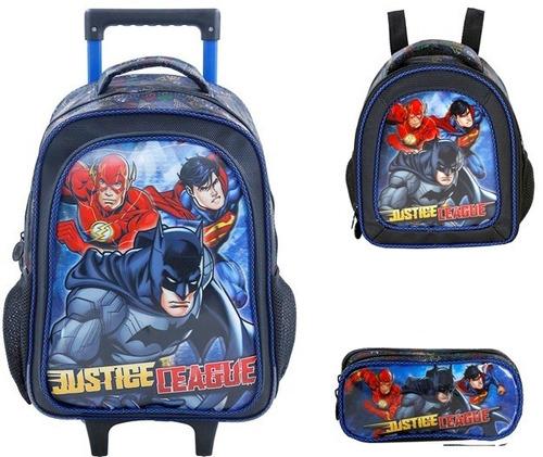 kit mochilete+lanch+esto liga da justiça heroes xeryus-g7620