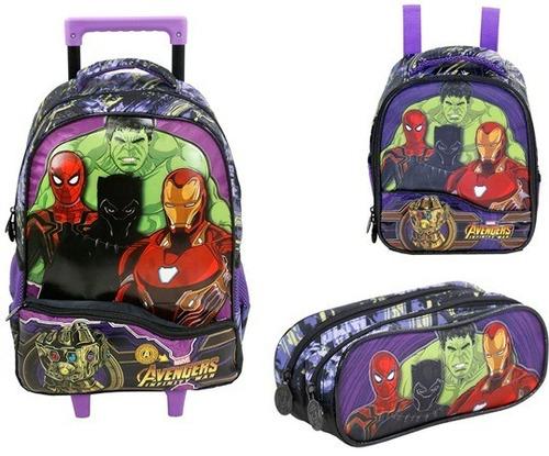 kit mochilete+ lanch+ estoj avengers infinity m xeryus- 7511