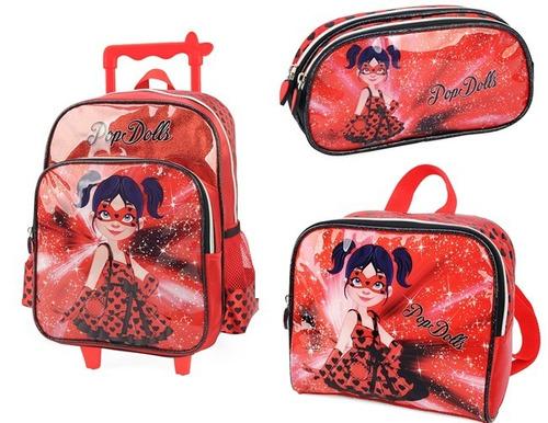 kit mochilete+lanch+estoj pop dolls g-32742