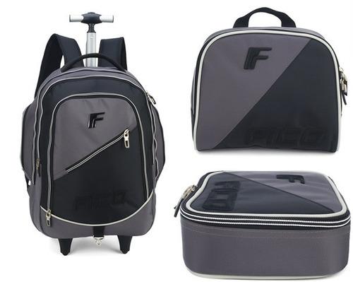 kit mochilete + lanch + estojo fico cinza -51216