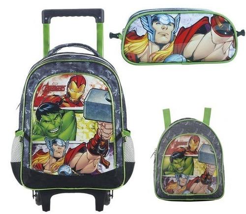 kit mochilete + lanche + estojo avengers might xeryus g-7080