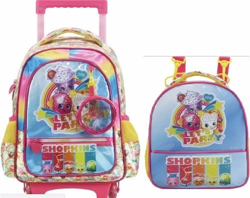 kit mochilete+lancheir shopkins com brinde exclusivo m- 6811