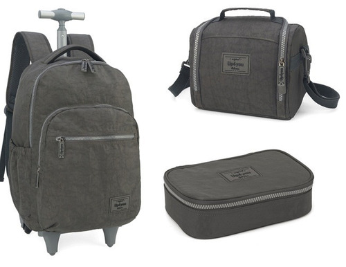 kit mochilete+lancheira+estojo  crinkle up4you cinza - 51168