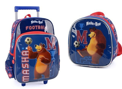 kit mochilete+lancheira  masha e o urso m azul -32652