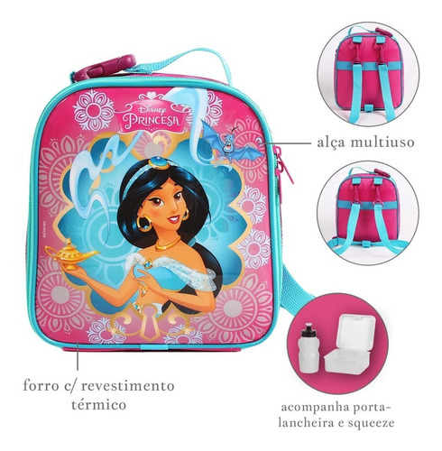 kit mochilete + lancheira princesa jasmine aladdin disney
