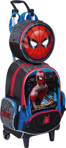 kit mochilete+ lancheira spider man / homem aranha - 65077