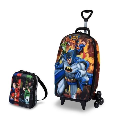 kit mochilete mala infantil escolar batman + lancheira + nfe