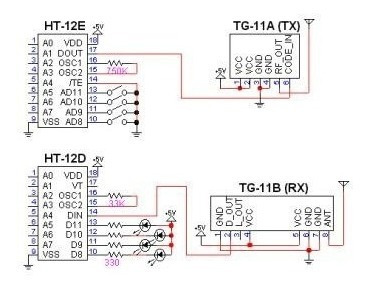 kit módulo rf 433mhz rx e tx + decoder ht12d e encoder ht12e
