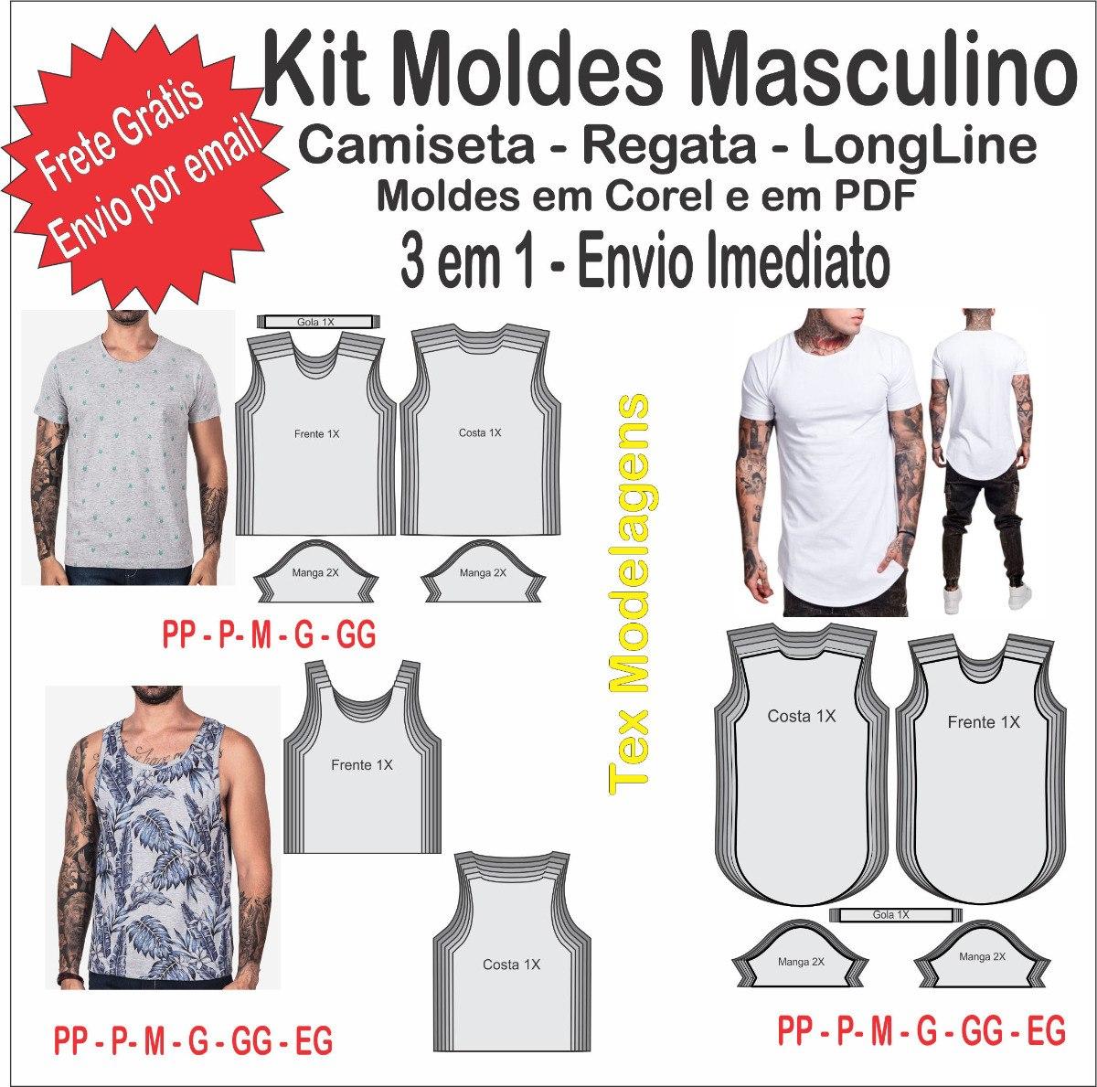 651ac249eb3b5 kit moldes modelagem masculina camiseta - regata - longline. Carregando  zoom.