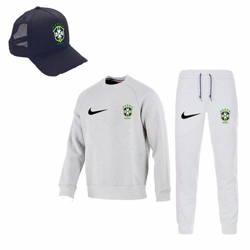 kit moletom brasil + boné + calça moletom seleção brasileira