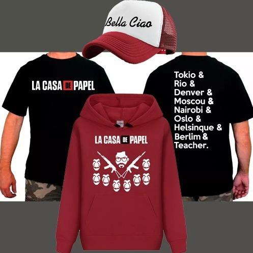 Kit Moletom + Camiseta + Boné La Casa De Papel Promoção - R  120 35daa935a27