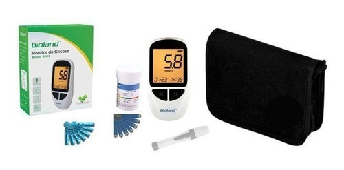 kit monitor de glicose completo 25 fitas - bioland g-500