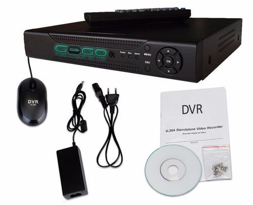 kit monitoramento dvr 4 canais p2p + 2 câmeras infra + hd