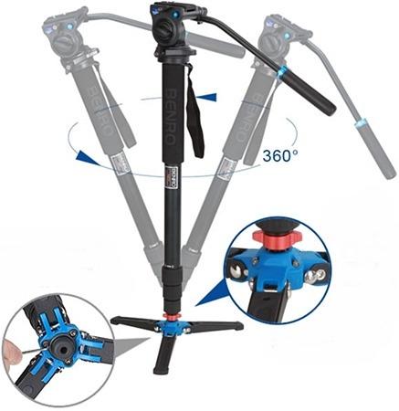 kit monopé benro p/ vídeo a38tds2 c/ cabeça fluido + pés