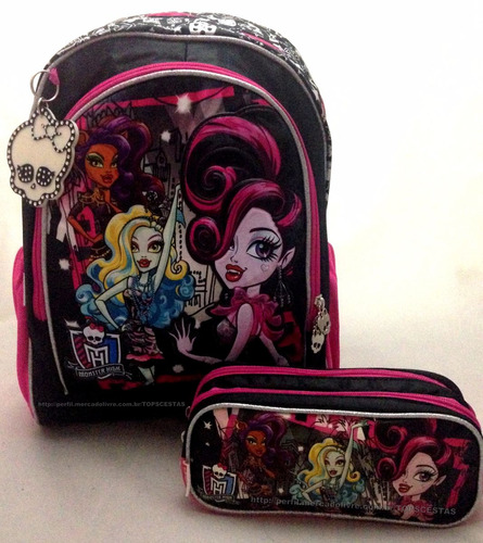 kit monster high filme original : mochila g costas + estojo