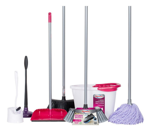 kit mop escoba cubeta y accesorios limpieza de casa reynera